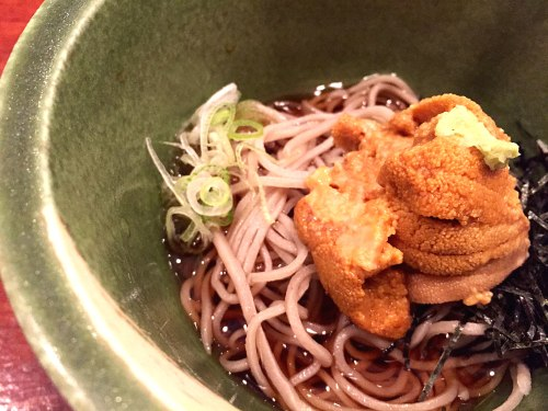 Handmade soba topped with sweet Maine uni at 15 East.