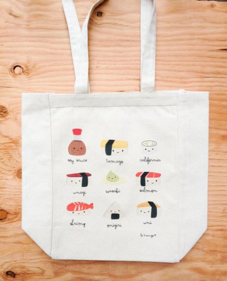 Sushi canvas tote bag courtesy of Etsy.