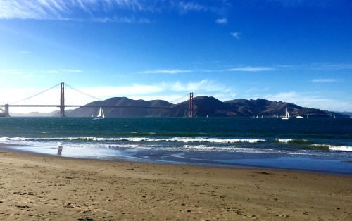 Best part about San Francisco in October? Gorgeous summer weather. (View from the beach at Crissy Field!)